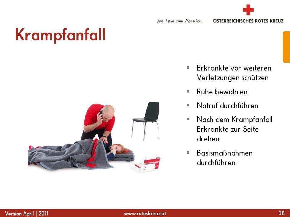 www.roteskreuz.at Version April | 2011 Krampfanfall 38  Erkrankte vor weiteren Verletzungen schützen  Ruhe bewahren  Notruf durchführen  Nach dem Krampfanfall Erkrankte zur Seite drehen  Basismaßnahmen durchführen