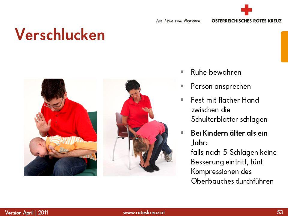 www.roteskreuz.at Version April | 2011 Verschlucken 53  Ruhe bewahren  Person ansprechen  Fest mit flacher Hand zwischen die Schulterblätter schlag
