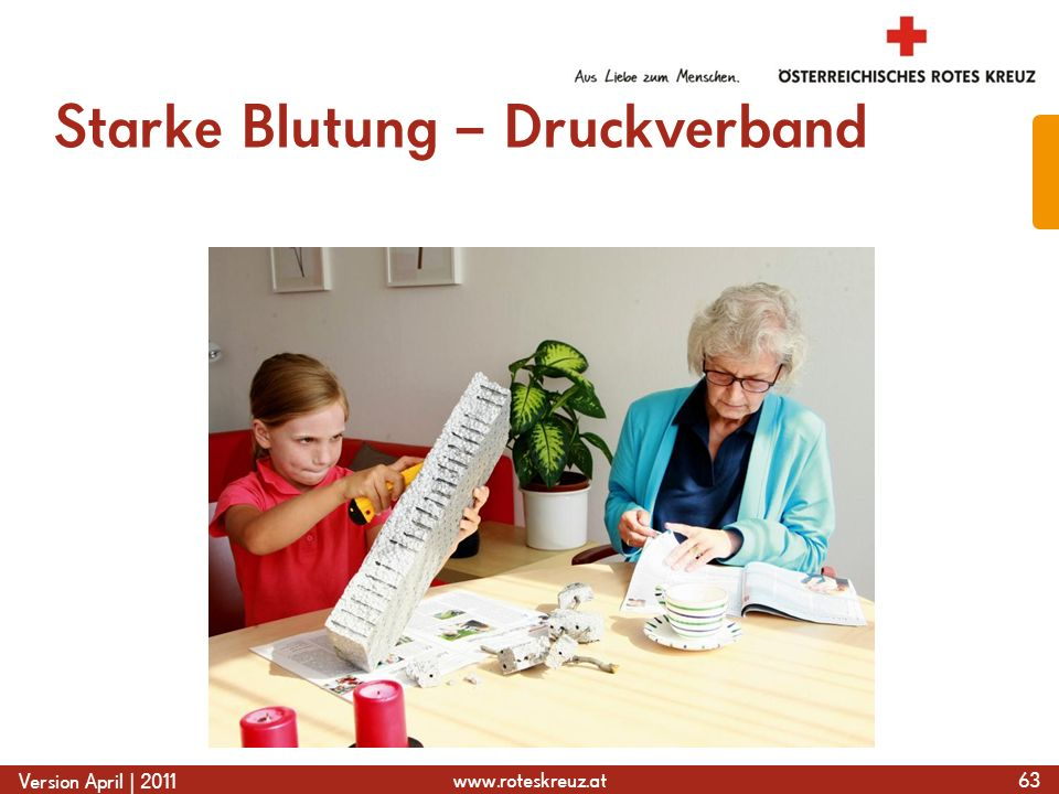 www.roteskreuz.at Version April | 2011 Starke Blutung – Druckverband 63