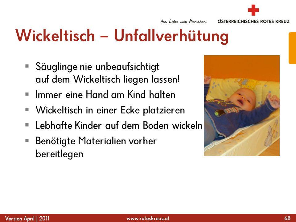 www.roteskreuz.at Version April | 2011 Wickeltisch – Unfallverhütung  Säuglinge nie unbeaufsichtigt auf dem Wickeltisch liegen lassen.