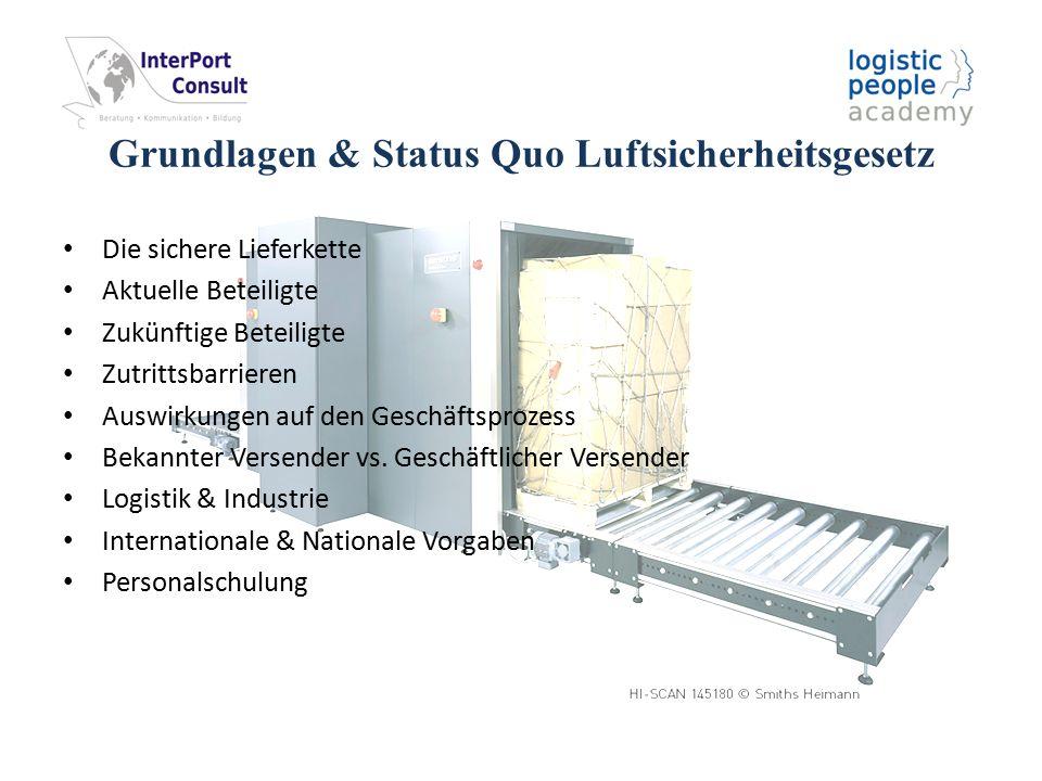 """Inhaltsverzeichnis 1Aktueller Stand zum Luftsicherheitsgesetz, den Schulungsverordnungen und zum LBA 1.1Statistik und Fallzahlen Stand 09.03.2012 1.2Definition des bekannten Versenders 1.3Problem: 1.4Status reglementierter Beauftragter oder bekannter Versender 1.5Schulungsverordnungen 1.6LBA 2Was ändert sich durch die EU-VO Veränderungen aktuell und im Hinblick auf 2013 2.1Ausblick für das weitere Vorgehen nach Erteilung der Zulassung 3Aktuelle Marktentwicklungen und Ausblick auf die Zertifizierung als Bekannter Versender 3.1Die """"2 Möglichkeiten für Versender ab 25.03.2013 3.1.1Der Weg zum bekannten Versender 3.1.2Beschränkungen als geschäftlicher Versender bzw."""