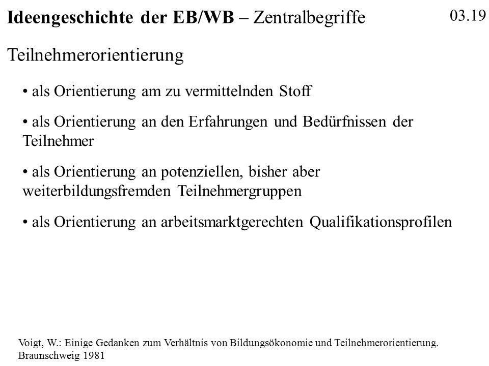 03.19 Ideengeschichte der EB/WB – Zentralbegriffe Teilnehmerorientierung Voigt, W.: Einige Gedanken zum Verhältnis von Bildungsökonomie und Teilnehmerorientierung.