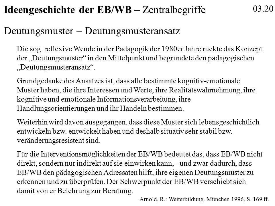 03.20 Ideengeschichte der EB/WB – Zentralbegriffe Deutungsmuster – Deutungsmusteransatz Die sog.