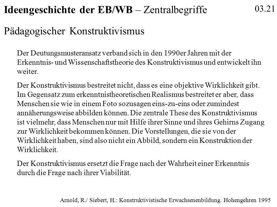 03.21 Ideengeschichte der EB/WB – Zentralbegriffe Pädagogischer Konstruktivismus Der Deutungsmusteransatz verband sich in den 1990er Jahren mit der Erkenntnis- und Wissenschaftstheorie des Konstruktivismus und entwickelt ihn weiter.