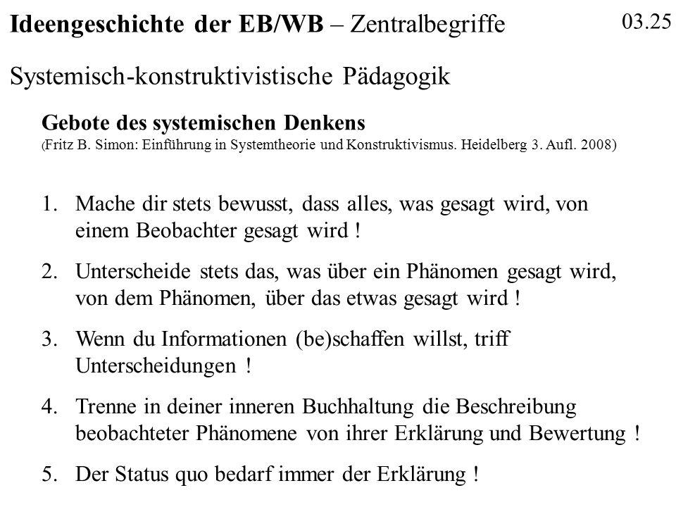03.25 Ideengeschichte der EB/WB – Zentralbegriffe Systemisch-konstruktivistische Pädagogik Gebote des systemischen Denkens ( Fritz B. Simon: Einführun