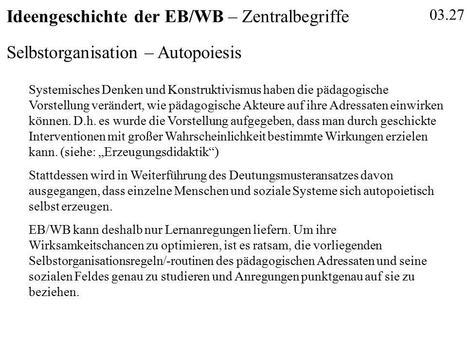 03.27 Ideengeschichte der EB/WB – Zentralbegriffe Selbstorganisation – Autopoiesis Systemisches Denken und Konstruktivismus haben die pädagogische Vor
