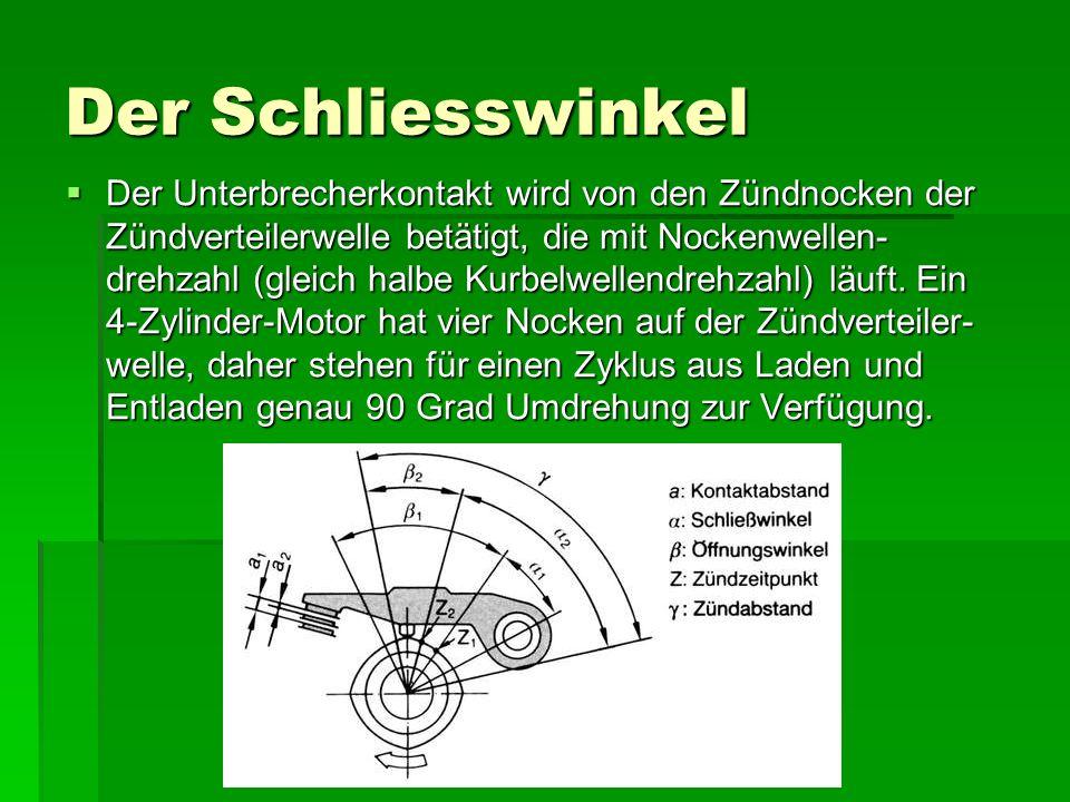 Der Schliesswinkel  Der Unterbrecherkontakt wird von den Zündnocken der Zündverteilerwelle betätigt, die mit Nockenwellen- drehzahl (gleich halbe Kurbelwellendrehzahl) läuft.