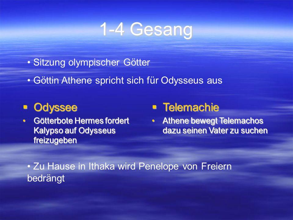 1-4 Gesang  Odyssee Götterbote Hermes fordert Kalypso auf Odysseus freizugebenGötterbote Hermes fordert Kalypso auf Odysseus freizugeben  Telemachie Athene bewegt Telemachos dazu seinen Vater zu suchenAthene bewegt Telemachos dazu seinen Vater zu suchen Sitzung olympischer Götter Göttin Athene spricht sich für Odysseus aus Zu Hause in Ithaka wird Penelope von Freiern bedrängt