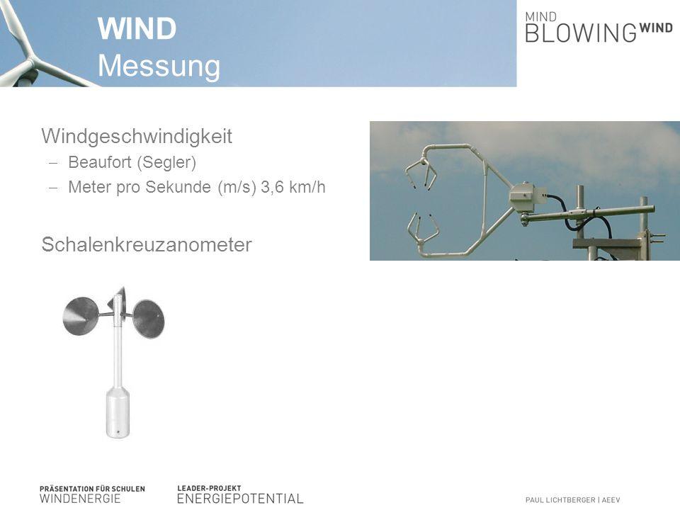 WIND Messung Leistungsdichte Wind: P theor =A*½*ρ*v*v*v [kW/m²] P theor.: Theorethische Windleistung (kW/m² ) ρ (rho): Luftdichte (in Kilogramm pro Kubikmeter) kW: KiloWatt = 1.000 Watt v : momentane Geschwindigkeit (in Meter pro Sekunde), enthaltene Energie steigt mit dritter Potenz der Windgeschwindigkeit.