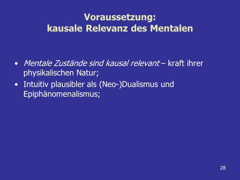 28 Voraussetzung: kausale Relevanz des Mentalen Mentale Zustände sind kausal relevant – kraft ihrer physikalischen Natur; Intuitiv plausibler als (Neo
