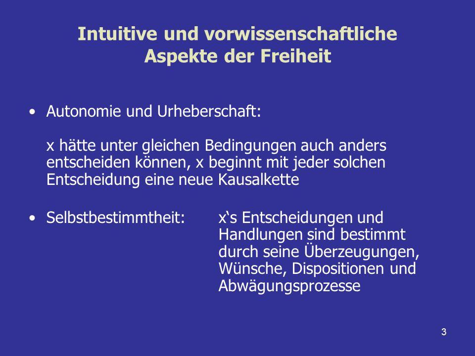 3 Intuitive und vorwissenschaftliche Aspekte der Freiheit Autonomie und Urheberschaft: x hätte unter gleichen Bedingungen auch anders entscheiden könn