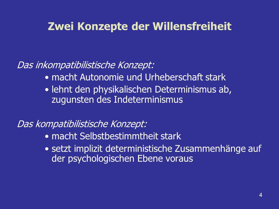 4 Zwei Konzepte der Willensfreiheit Das inkompatibilistische Konzept: macht Autonomie und Urheberschaft stark lehnt den physikalischen Determinismus a