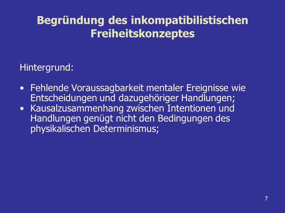 7 Begründung des inkompatibilistischen Freiheitskonzeptes Hintergrund: Fehlende Voraussagbarkeit mentaler Ereignisse wie Entscheidungen und dazugehöri