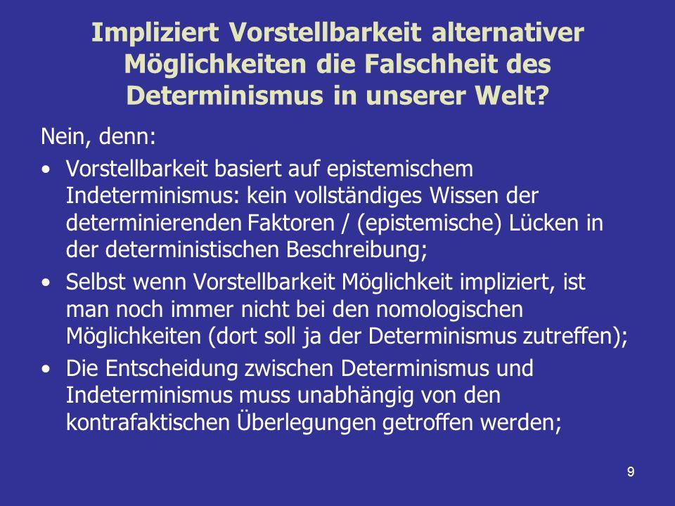 9 Impliziert Vorstellbarkeit alternativer Möglichkeiten die Falschheit des Determinismus in unserer Welt? Nein, denn: Vorstellbarkeit basiert auf epis