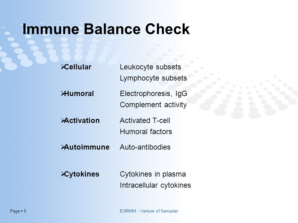 Page  9 Immune Balance Check  CellularLeukocyte subsets Lymphocyte subsets  HumoralElectrophoresis, IgG Complement activity  ActivationActivated T-cell Humoral factors  AutoimmuneAuto-antibodies  CytokinesCytokines in plasma Intracellular cytokines EURIMM - Venture of Sanoplan
