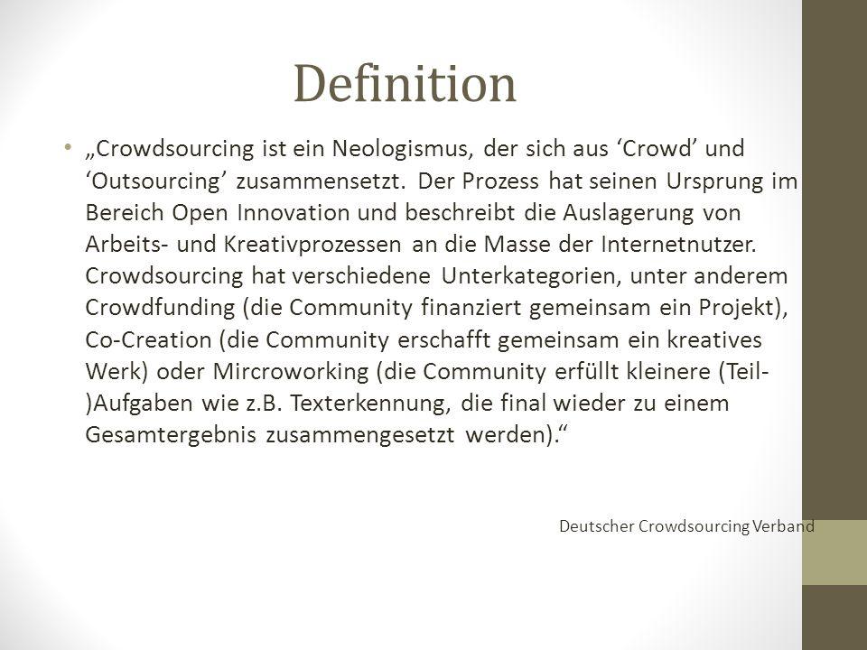 """Definition """"Crowdsourcing ist ein Neologismus, der sich aus 'Crowd' und 'Outsourcing' zusammensetzt."""