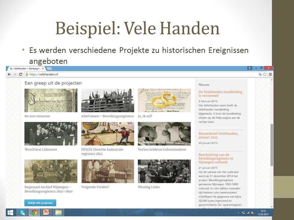Es werden verschiedene Projekte zu historischen Ereignissen angeboten