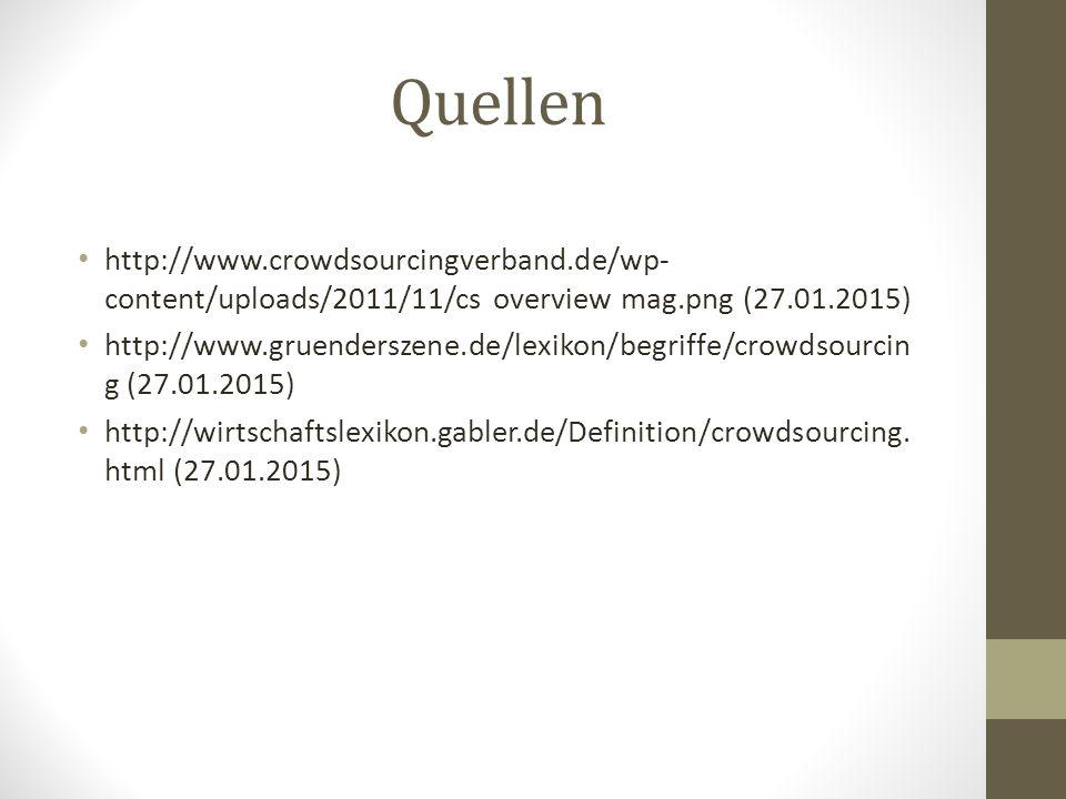 Quellen http://www.crowdsourcingverband.de/wp- content/uploads/2011/11/cs overview mag.png (27.01.2015) http://www.gruenderszene.de/lexikon/begriffe/crowdsourcin g (27.01.2015) http://wirtschaftslexikon.gabler.de/Definition/crowdsourcing.