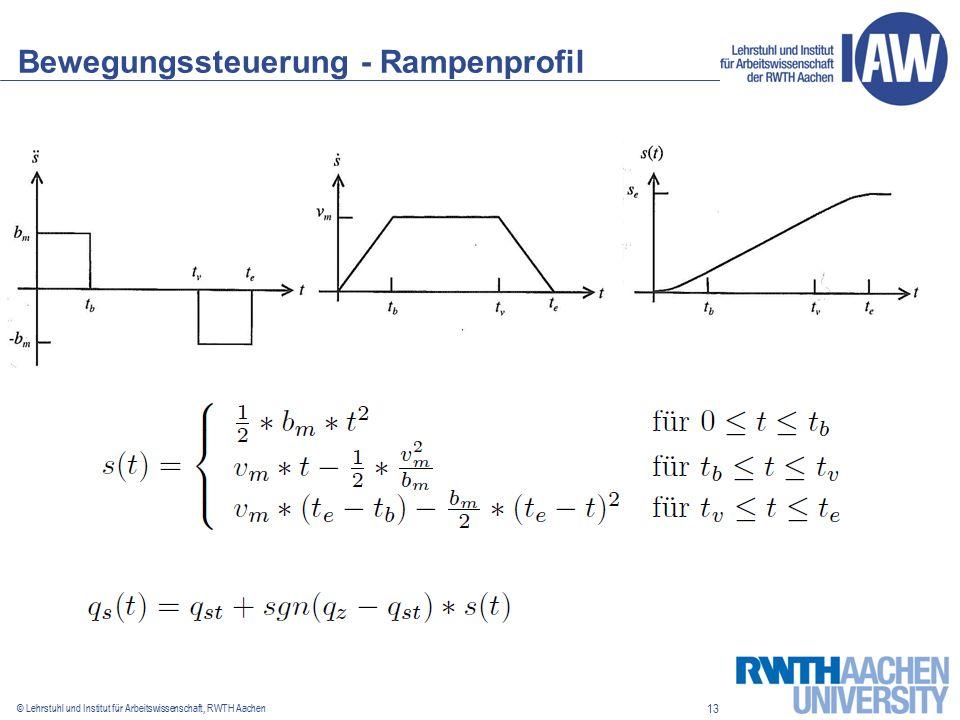 13 © Lehrstuhl und Institut für Arbeitswissenschaft, RWTH Aachen Bewegungssteuerung - Rampenprofil