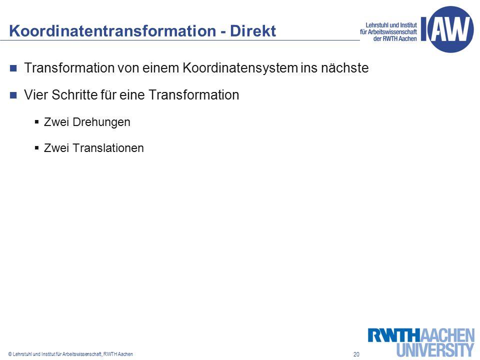20 © Lehrstuhl und Institut für Arbeitswissenschaft, RWTH Aachen Koordinatentransformation - Direkt Transformation von einem Koordinatensystem ins nächste Vier Schritte für eine Transformation  Zwei Drehungen  Zwei Translationen