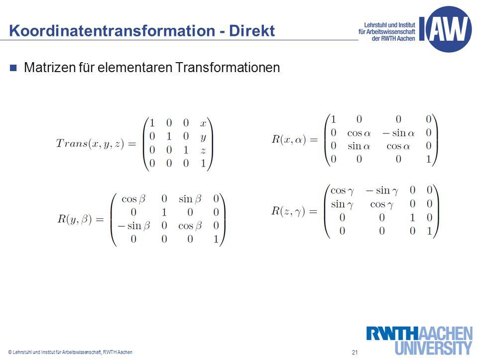 21 © Lehrstuhl und Institut für Arbeitswissenschaft, RWTH Aachen Koordinatentransformation - Direkt Matrizen für elementaren Transformationen