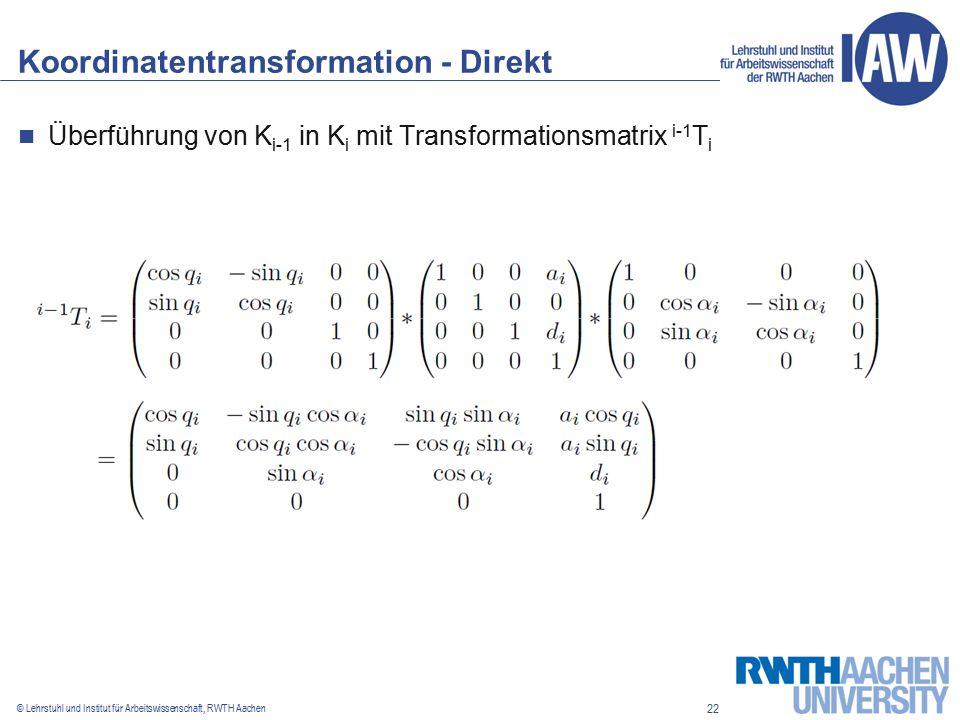22 © Lehrstuhl und Institut für Arbeitswissenschaft, RWTH Aachen Koordinatentransformation - Direkt Überführung von K i-1 in K i mit Transformationsmatrix i-1 T i