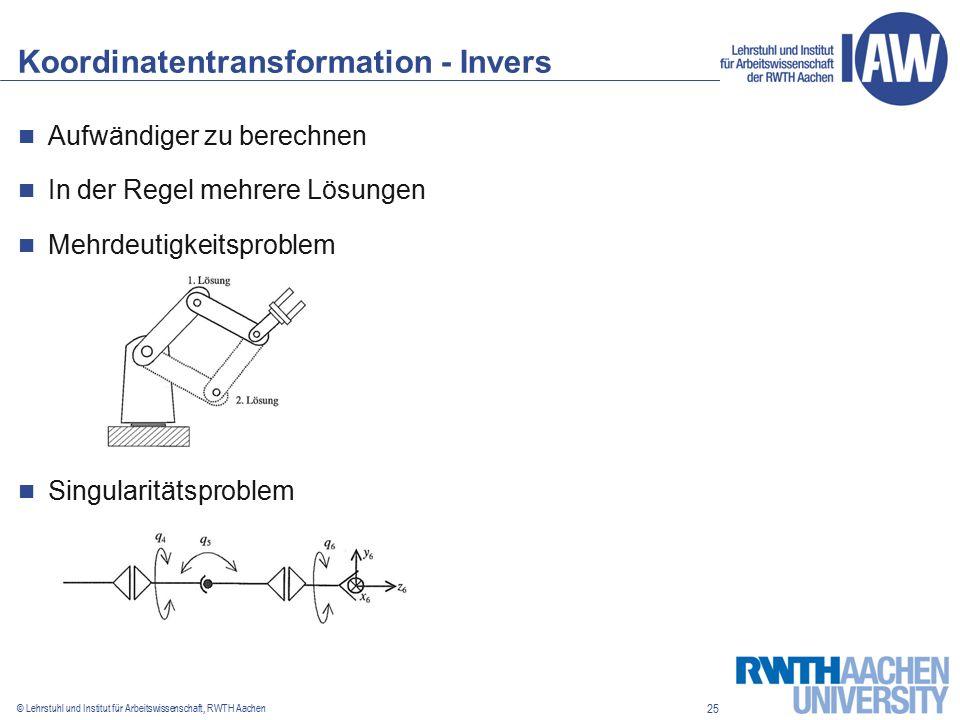25 © Lehrstuhl und Institut für Arbeitswissenschaft, RWTH Aachen Koordinatentransformation - Invers Aufwändiger zu berechnen In der Regel mehrere Lösungen Mehrdeutigkeitsproblem Singularitätsproblem