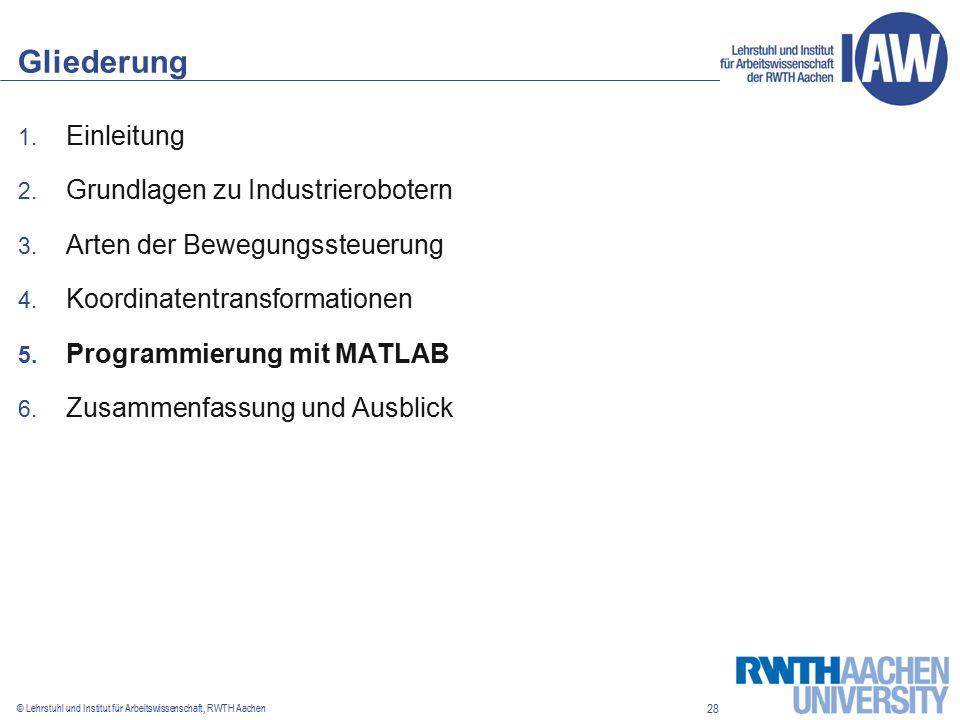 28 © Lehrstuhl und Institut für Arbeitswissenschaft, RWTH Aachen Gliederung 1.