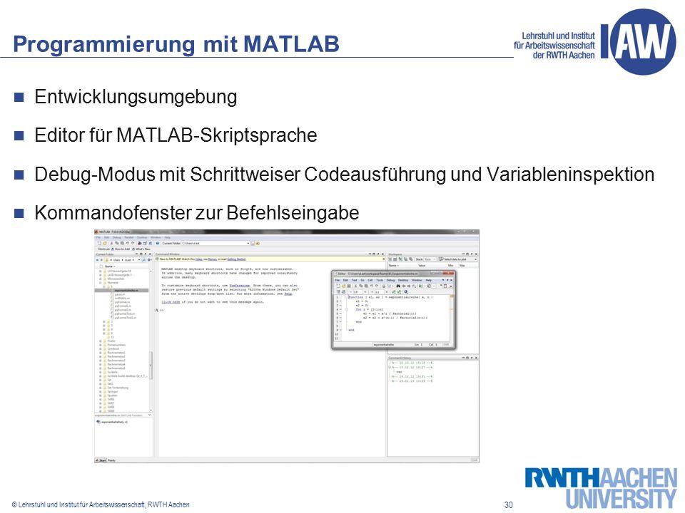 30 © Lehrstuhl und Institut für Arbeitswissenschaft, RWTH Aachen Programmierung mit MATLAB Entwicklungsumgebung Editor für MATLAB-Skriptsprache Debug-Modus mit Schrittweiser Codeausführung und Variableninspektion Kommandofenster zur Befehlseingabe