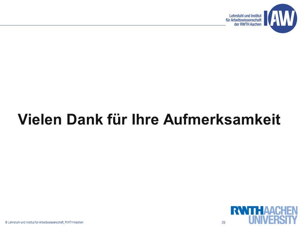 39 © Lehrstuhl und Institut für Arbeitswissenschaft, RWTH Aachen Vielen Dank für Ihre Aufmerksamkeit