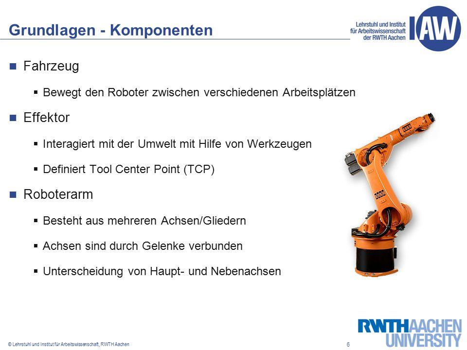 6 © Lehrstuhl und Institut für Arbeitswissenschaft, RWTH Aachen Grundlagen - Komponenten Fahrzeug  Bewegt den Roboter zwischen verschiedenen Arbeitsplätzen Effektor  Interagiert mit der Umwelt mit Hilfe von Werkzeugen  Definiert Tool Center Point (TCP) Roboterarm  Besteht aus mehreren Achsen/Gliedern  Achsen sind durch Gelenke verbunden  Unterscheidung von Haupt- und Nebenachsen