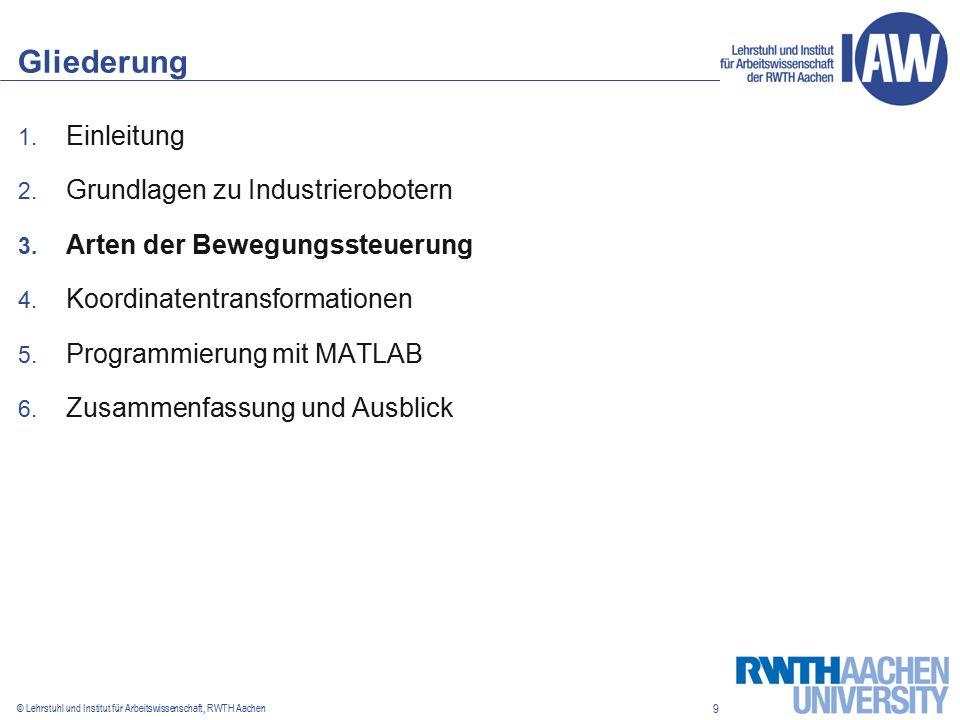 9 © Lehrstuhl und Institut für Arbeitswissenschaft, RWTH Aachen Gliederung 1.