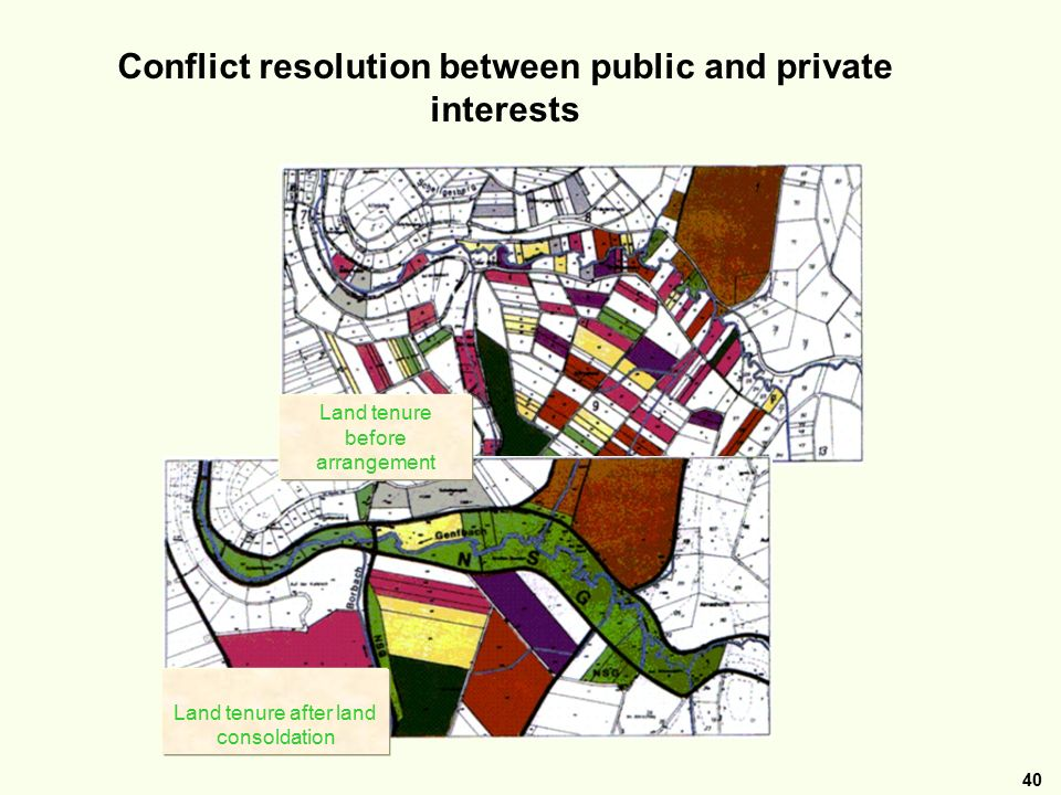 40 Beispiel: Verfahren Nettersheim Landkreis Euskirchen Nordrhein-Westfalen Conflict resolution between public and private interests Land tenure after land consoldation Land tenure before arrangement