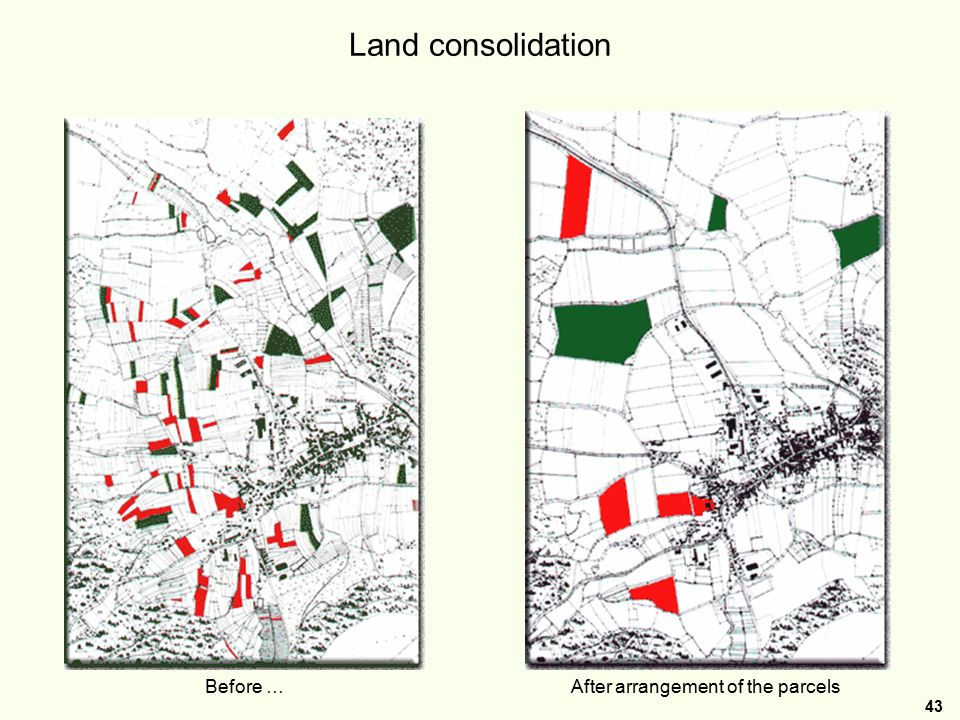 43 Land consolidation Before …After arrangement of the parcels