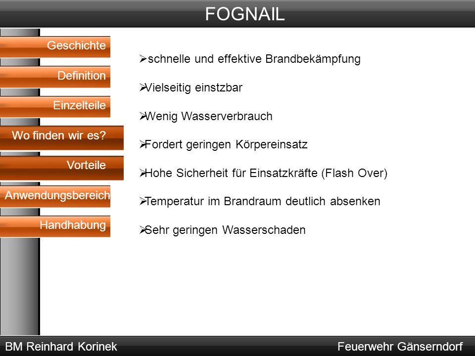 BM Reinhard KorinekFeuerwehr Gänserndorf FOGNAIL Geschichte Definition Wo finden wir es? Vorteile Anwendungsbereich Handhabung Einzelteile  schnelle