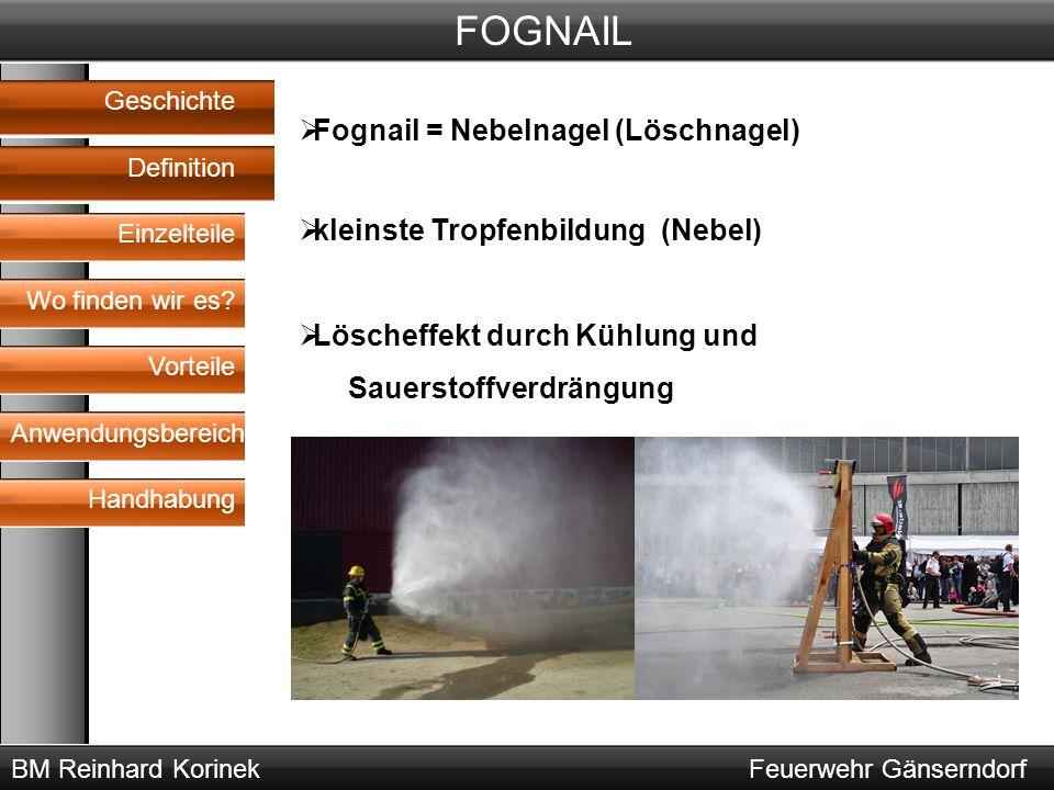 BM Reinhard KorinekFeuerwehr Gänserndorf FOGNAIL Geschichte Definition Wo finden wir es? Vorteile Anwendungsbereich Handhabung  Fognail = Nebelnagel