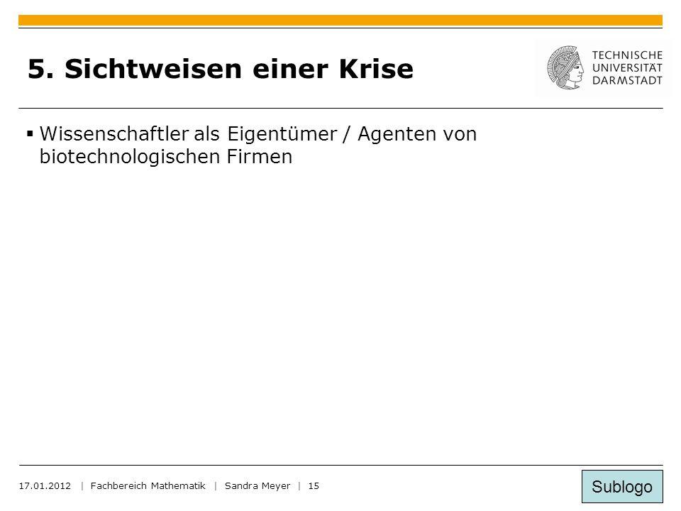 Sublogo 17.01.2012 | Fachbereich Mathematik | Sandra Meyer | 15 5.