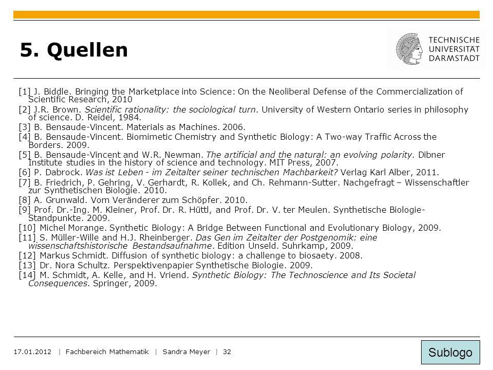Sublogo 17.01.2012 | Fachbereich Mathematik | Sandra Meyer | 32 5.