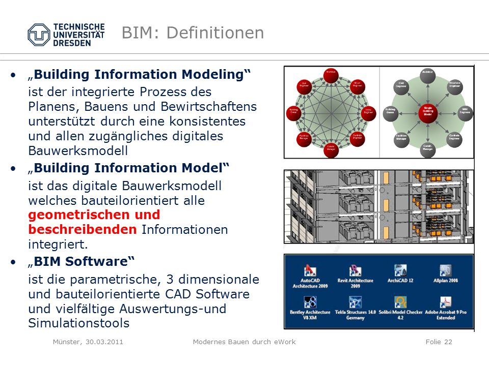"""BIM: Definitionen """"Building Information Modeling ist der integrierte Prozess des Planens, Bauens und Bewirtschaftens unterstützt durch eine konsistentes und allen zugängliches digitales Bauwerksmodell """"Building Information Model ist das digitale Bauwerksmodell welches bauteilorientiert alle geometrischen und beschreibenden Informationen integriert."""