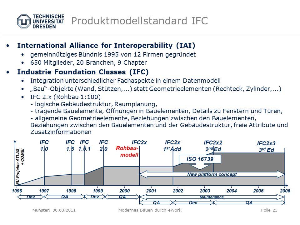 """International Alliance for Interoperability (IAI) gemeinnütziges Bündnis 1995 von 12 Firmen gegründet 650 Mitglieder, 20 Branchen, 9 Chapter Industrie Foundation Classes (IFC) Integration unterschiedlicher Fachaspekte in einem Datenmodell """"Bau -Objekte (Wand, Stützen,...) statt Geometrieelementen (Rechteck, Zylinder,...) IFC 2.x (Rohbau 1:100) - logische Gebäudestruktur, Raumplanung, - tragende Bauelemente, Öffnungen in Bauelementen, Details zu Fenstern und Türen, - allgemeine Geometrieelemente, Beziehungen zwischen den Bauelementen, Beziehungen zwischen den Bauelementen und der Gebäudestruktur, freie Attribute und Zusatzinformationen Produktmodellstandard IFC Münster, 30.03.2011Modernes Bauen durch eWorkFolie 25"""