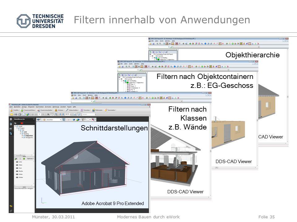 Objekthierarchie DDS-CAD Viewer Filtern innerhalb von Anwendungen Filtern nach Objektcontainern z.B.: EG-Geschoss DDS-CAD Viewer Filtern nach Klassen z.B.