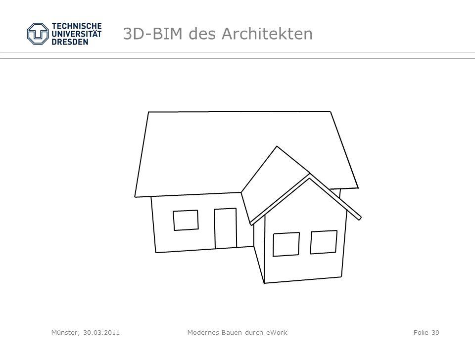 3D-BIM des Architekten Münster, 30.03.2011Modernes Bauen durch eWorkFolie 39