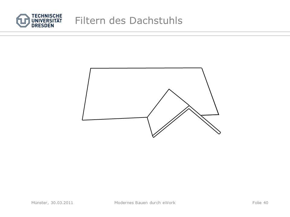 Filtern des Dachstuhls Münster, 30.03.2011Modernes Bauen durch eWorkFolie 40