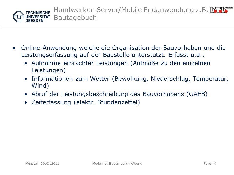 Handwerker-Server/Mobile Endanwendung z.B.