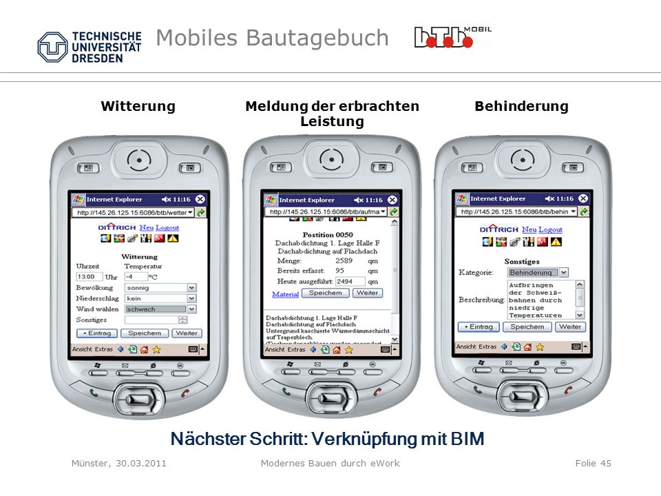 Mobiles Bautagebuch WitterungMeldung der erbrachten Leistung Behinderung Münster, 30.03.2011Modernes Bauen durch eWorkFolie 45 Nächster Schritt: Verknüpfung mit BIM