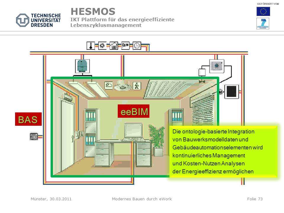 HESMOS IKT Plattform für das energieeffiziente Lebenszyklusmanagement eeBIM BAS Die ontologie-basierte Integration von Bauwerksmodelldaten und Gebäudeautomationselementen wird kontinuierliches Management und Kosten-Nutzen Analysen der Energieeffizienz ermöglichen GEFÖRDERT VOM Münster, 30.03.2011Modernes Bauen durch eWorkFolie 73