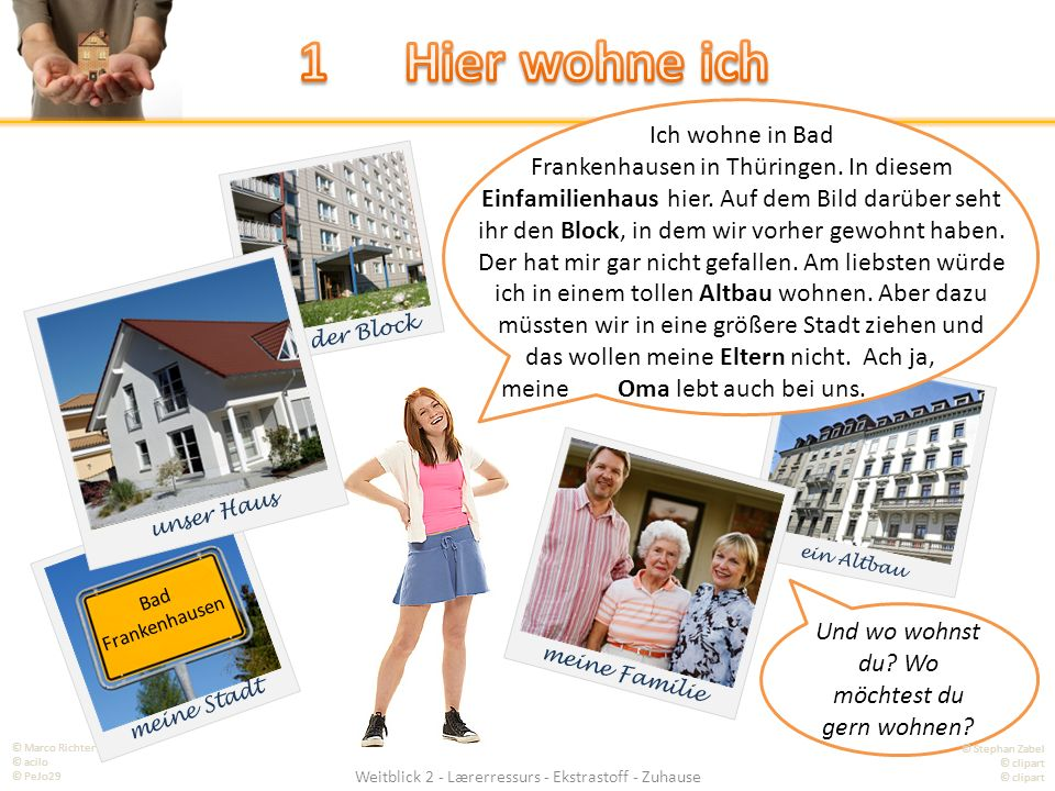 ein Altbau Weitblick 2 - Lærerressurs - Ekstrastoff - Zuhause meine Stadt Bad Frankenhausen der Block meine Familie unser Haus Ich wohne in Bad Frankenhausen in Thüringen.