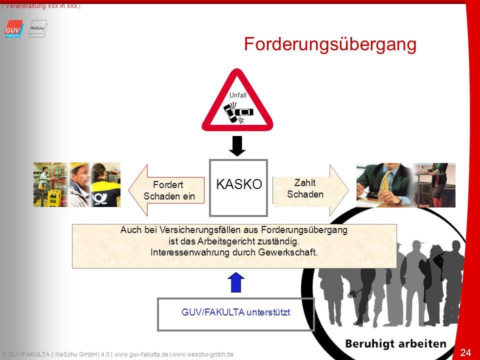 24 © GUV/FAKULTA | WeSchu GmbH | 4.0 | www.guv-fakulta.de | www.weschu-gmbh.de | Veranstaltung xxx in xxx | 24 KASKO Fordert Schaden ein Zahlt Schaden Auch bei Versicherungsfällen aus Forderungsübergang ist das Arbeitsgericht zuständig.