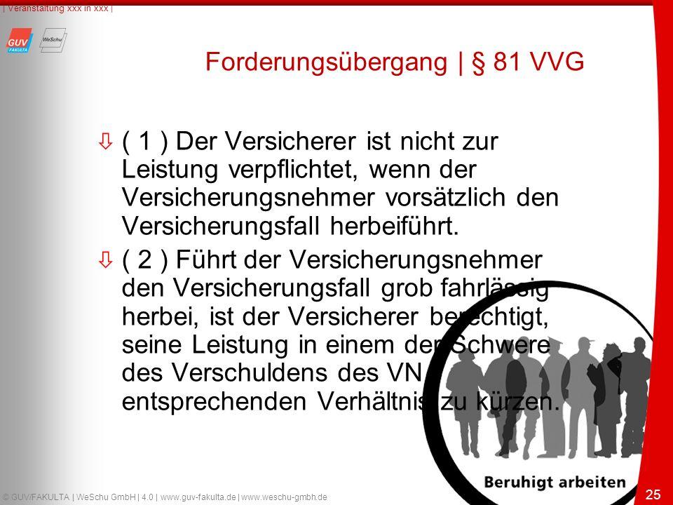 25 © GUV/FAKULTA | WeSchu GmbH | 4.0 | www.guv-fakulta.de | www.weschu-gmbh.de | Veranstaltung xxx in xxx | 25 Forderungsübergang | § 81 VVG ò ( 1 ) Der Versicherer ist nicht zur Leistung verpflichtet, wenn der Versicherungsnehmer vorsätzlich den Versicherungsfall herbeiführt.