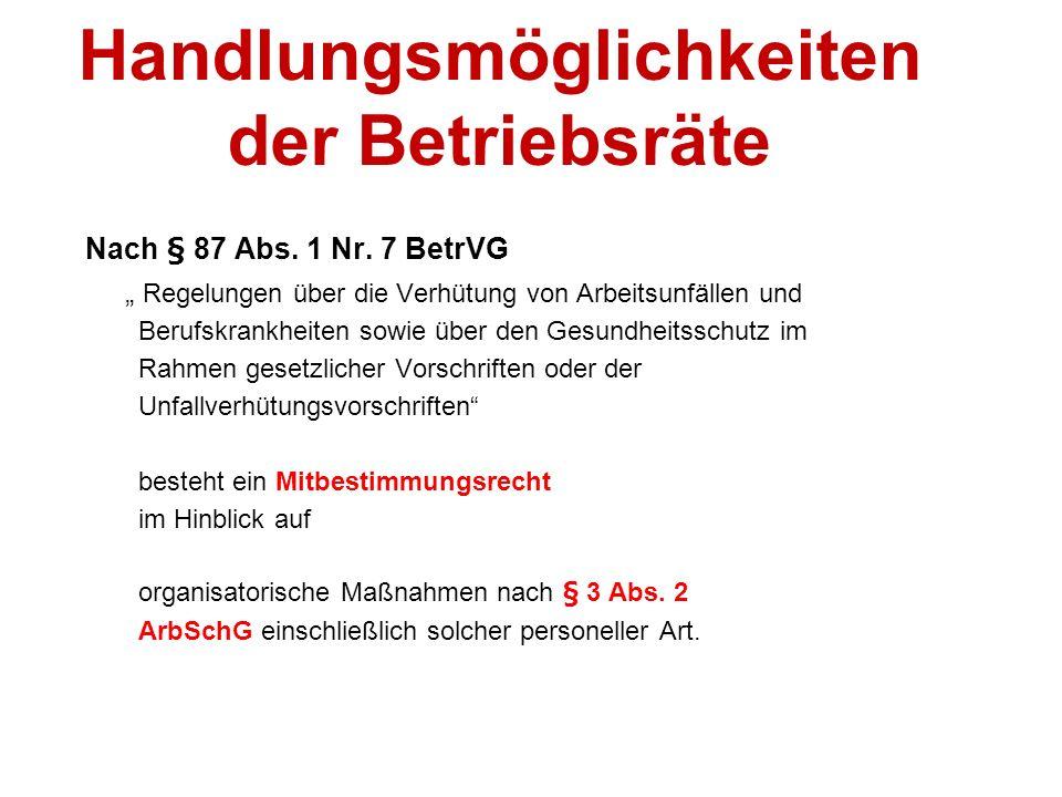48 Handlungsmöglichkeiten der Betriebsräte Nach § 87 Abs.